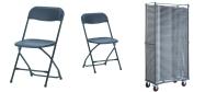 Klapstol Alex sort. Denne klapstol stabler 50 eller 100 stk. på en transportvogn. Vi giver gerne et godt tilbud på denne klapstol.