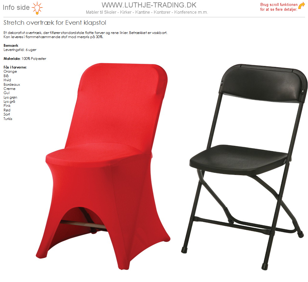 Overtræk rød til Event klapstol