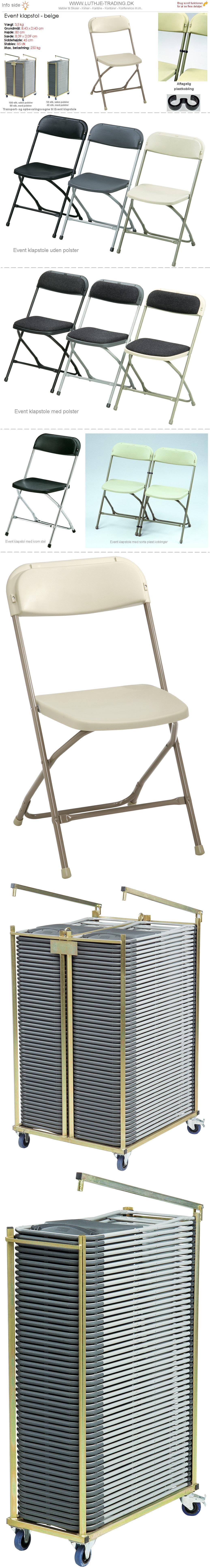 Klapstol Event beige plast og stel. Der findes en transport- og opbevaringsvogn til denne klapstol. Vi giver gerne et godt tilbud på denne klapstol.