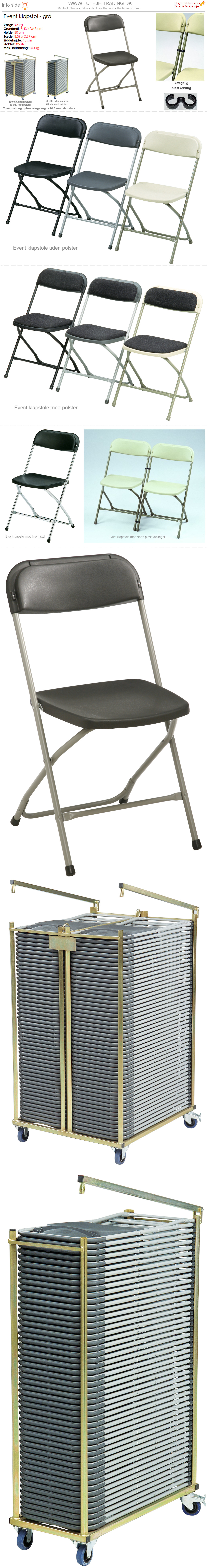 Klapstol Event grå plast og stel. Der findes en transport- og opbevaringsvogn til denne klapstol. Vi giver gerne et godt tilbud på denne klapstol.