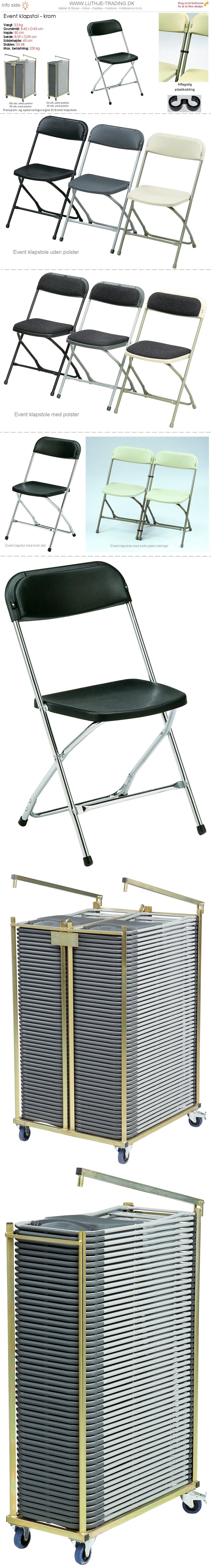 Klapstol Event sort plast og krom stel. Der findes en transport- og opbevaringsvogn til denne klapstol. Vi giver gerne et godt tilbud på denne klapstol.