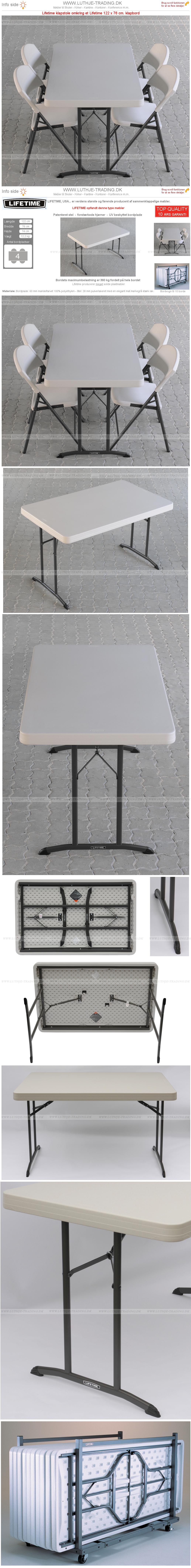Klapstol med Lifetime klapbord 122 x 76 cm.
