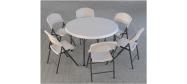 Klapstol Lifetime med Lifetime rund bord Ø118 cm. Vi giver gerne et godt tilbud på denne klapstol.