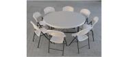 Klapstol Lifetime med Lifetime rund bord Ø153 cm. Vi giver gerne et godt tilbud på denne klapstol.