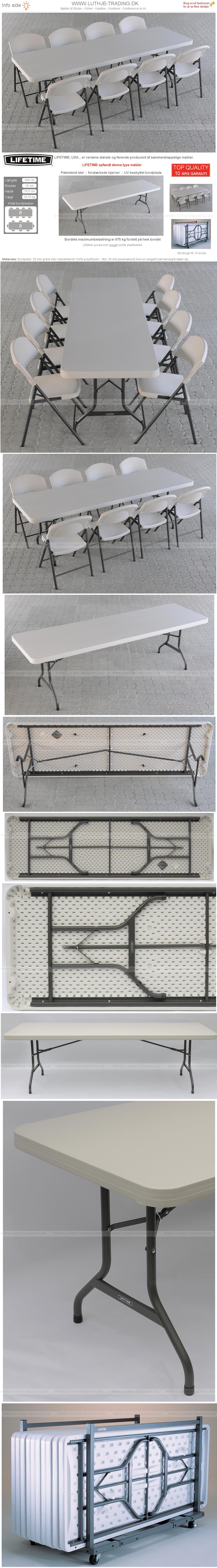 Klapstol med Lifetime plastbord 245 x 76 cm. Vi giver gerne et godt tilbud på denne klapstol.