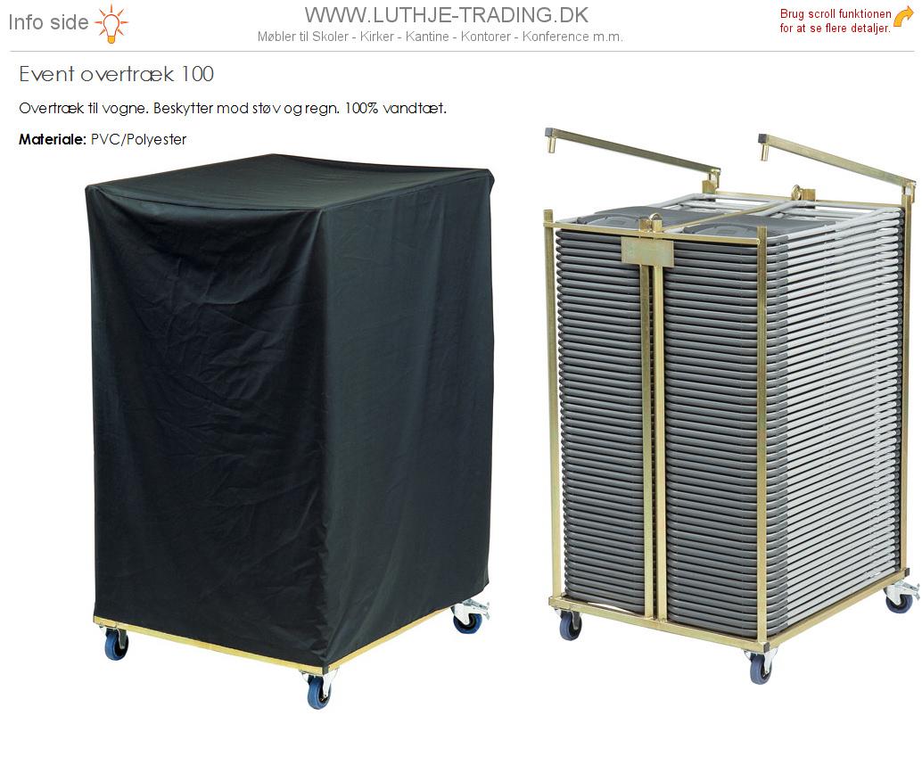Overtræk til klapstol vogn med 100 stk. klapstole